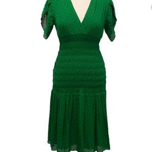 DVF polka dot chiffon midi dress emerald green 6